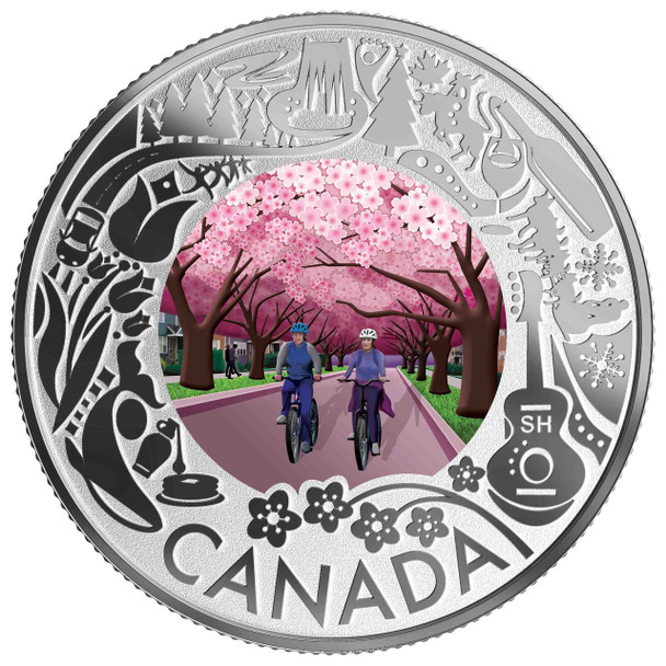 2019 $3 FINE SILVER COIN CELEBRATING CANADIAN FUN AND FESTIVITIES CHERRY BLOSSOMS