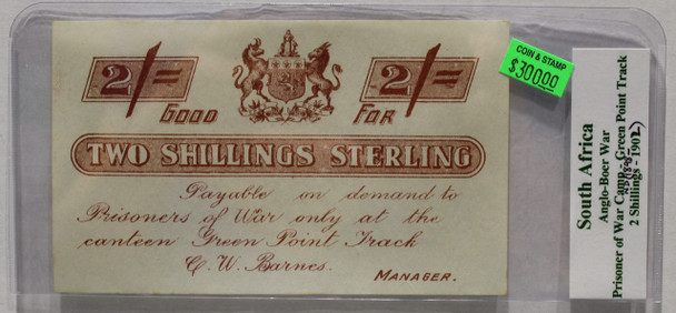 SOUTH AFRICA P.O.W. TWO SHILLINGS STERLING - GREEN POINT TRACK - BOER WAR 1898-1902