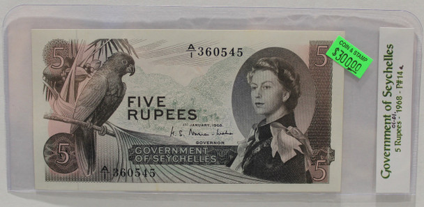 SEYCHELLES 5 RUPEE BANKNOTE - DATED JANUARY 1ST 1968 - P 14A