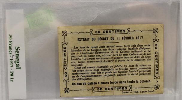 SENEGAL .50 FRANC BANKNOTE - DATED 1917 - P 1c