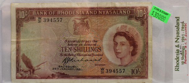 RHODESIA & NYASALAND TEN SHILLING BANKNOTE - DATED JAN 25 1961 - P 20b