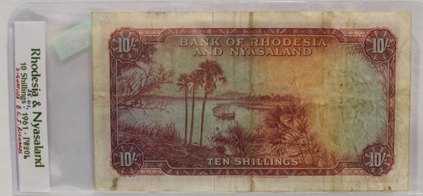 RHODESIA & NYASALAND TEN SHILLING BANKNOTE - DATED JAN 25 1961 - P 20b