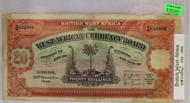 BRITISH WEST AFRICA 20 SHILLING BANKNOTE - DATED 1948 - P 8b