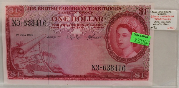 BRITISH EAST CARIBBEAN TERRITORIES 1 DOLLAR BANKNOTE - DATED JULY 1ST 1960