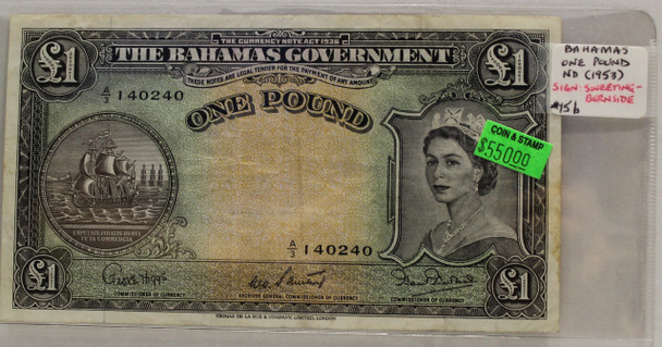 BAHAMAS 1 POUND BANKNOTE - NO DATE 1953