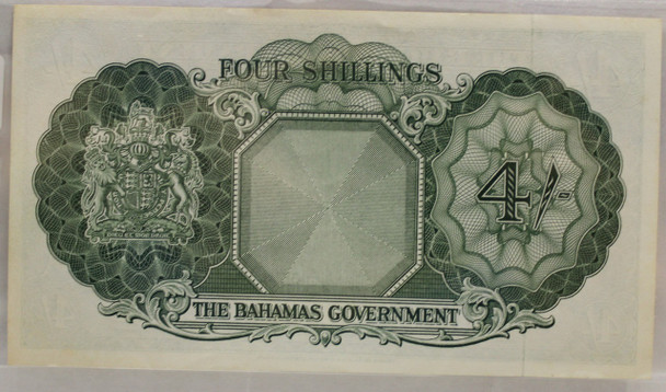 BAHAMAS 4 SHILLING BANKNOTE - NO DATE 1953 - UNC