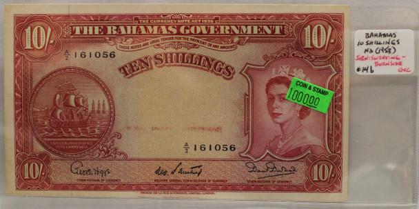 BAHAMAS 10 SHILLING BANKNOTE - NO DATE 1953 - UNC