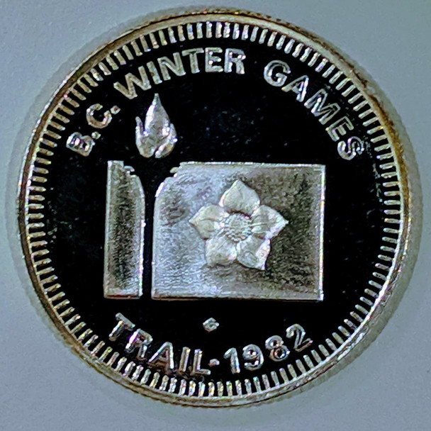 1982 WINTER GAMES TRAIL BC FINE SILVER MEDALLION