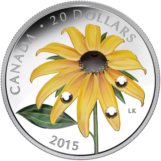 SALE - 2015 $20 FINE SILVER COIN BLACK-EYED SUSAN WITH CRYSTAL DEW DROPS