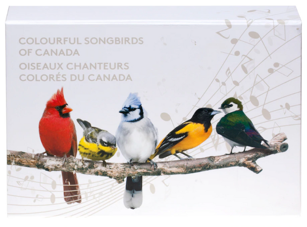 Subscription Box -NO COINS- 2015 $10 Fine Silver Colourful Songbirds of Canada Musical Display Case
