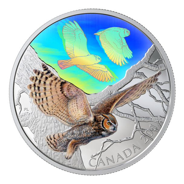 2019 $30 FINE SILVER COIN MAJESTIC BIRDS IN MOTION: GREAT HORNED OWLS