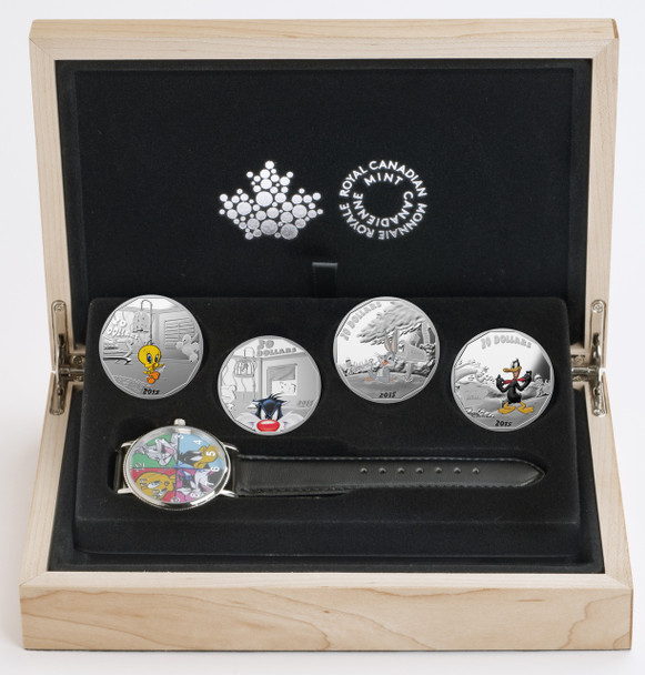 SALE - 2015 $20 FINE SILVER 4-COIN AND WATCH  - LOONEY TUNES™