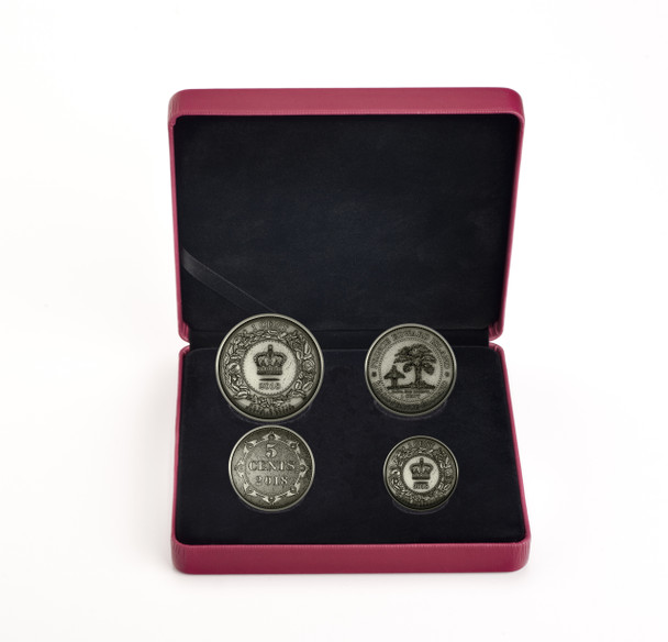 SALE - 2018 FINE SILVER 4-COIN SET – BEFORE CONFEDERATION COLONIAL CURRENCY OF THE ATLANTIC PROVINCES - DAMAGED OUTER BOX