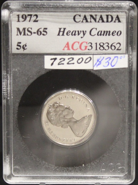 1972 CIRCULATION 5-CENT COIN - HEAVY CAMEO - MS-65
