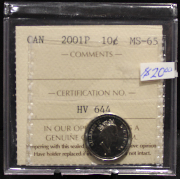 2001P CIRCULATION 10-CENT COIN - MS-65