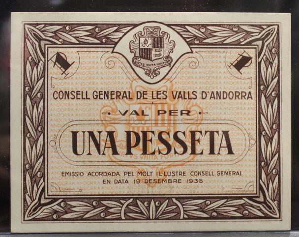 ANDORRA  SPANISH CIVIL WAR 1 PESSETA BANKNOTE - DATED DEC 19 1936 - P#6