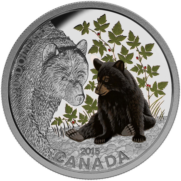 SALE - 2015 $20 FINE SILVER COIN BABY ANIMALS: BLACK BEAR
