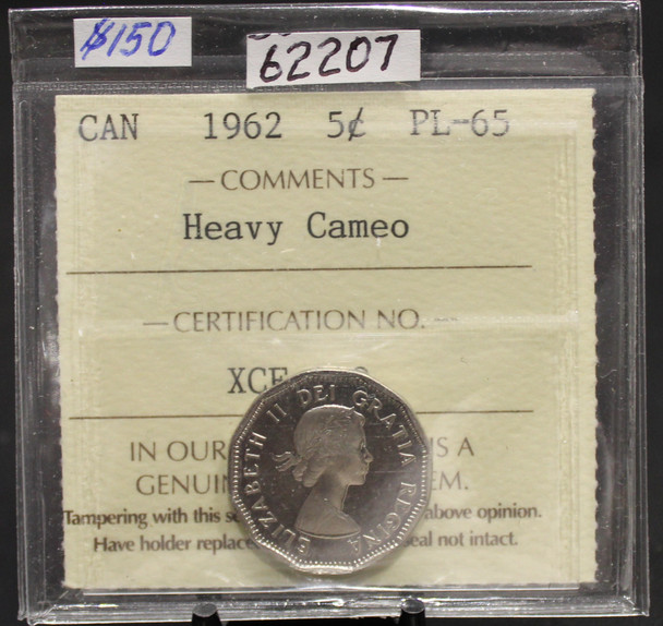 1962 CIRCULATION 5-CENT COIN -HEAVY CAMEO - PL-65