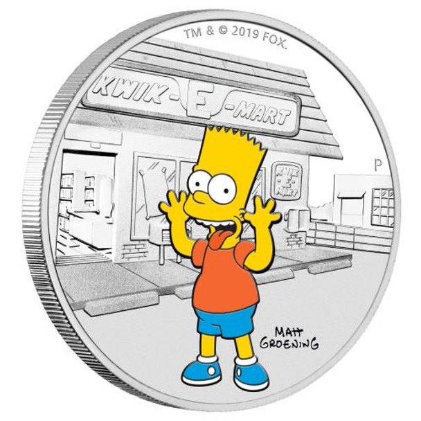 The Simpsons - Bart 2019 1oz Silver Proof Coin - Perth Mint