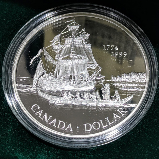 1999 PROOF SILVER DOLLAR - VOYAGE OF JUAN PEREZ 225TH ANNIVERSARY