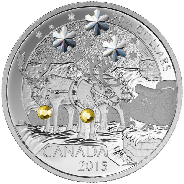 SALE - 2015 $20 FINE SILVER COIN - HOLIDAY REINDEER