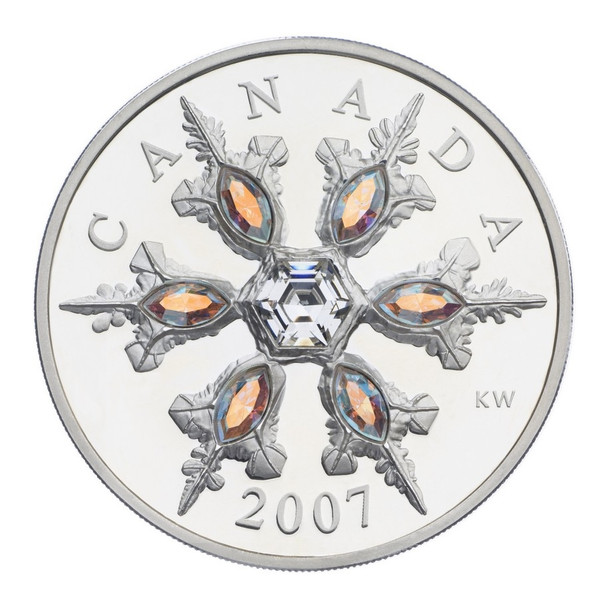 SALE - 2007 $20 STERLING SILVER COIN - IRIDESCENT CRYSTAL SNOWFLAKE