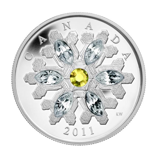 SALE -  2011 FINE SILVER $20 COIN - CRYSTAL SNOWFLAKE - TOPAZ