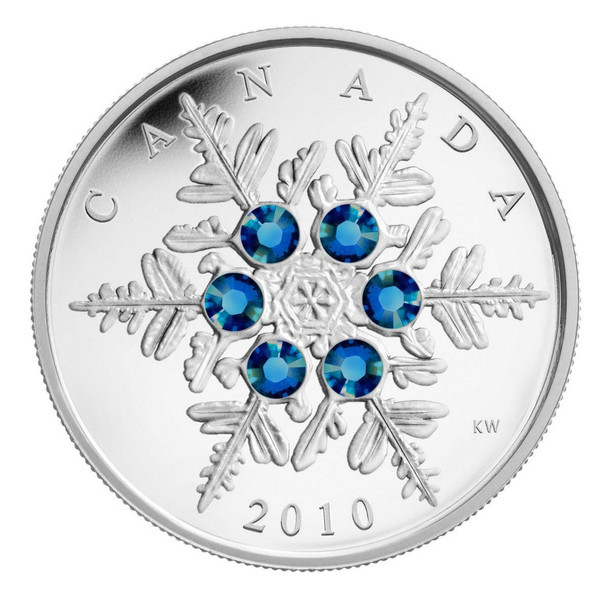SALE - 2010 $20 FINE SILVER COIN - BLUE CRYSTAL SNOWFLAKE