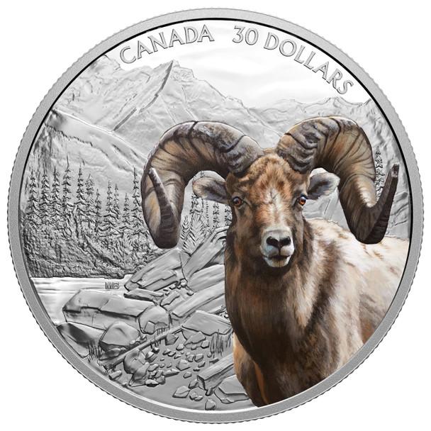 2020 $30 FINE SILVER COIN IMPOSING ICONS: BIGHORN SHEEP