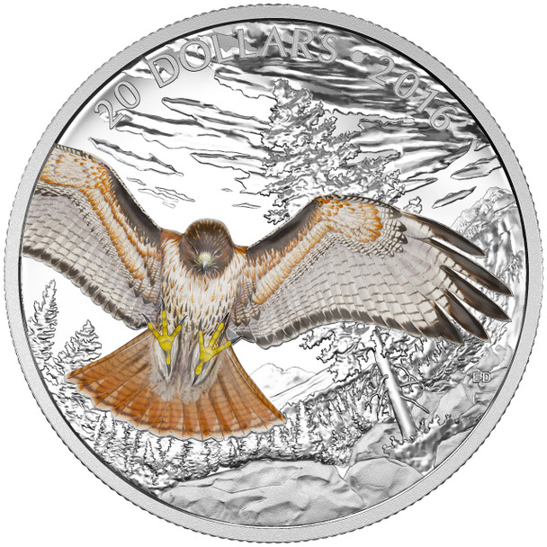 SALE - 2016 $20 FINE SILVER COIN REGAL RED-TAILED HAWK