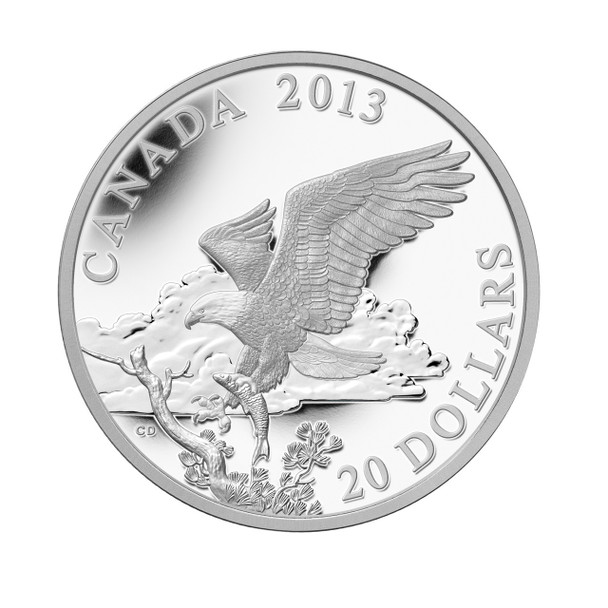 SALE - 2013 $20 SILVER COIN - THE BALD EAGLE: RETURNING FROM THE HUNT