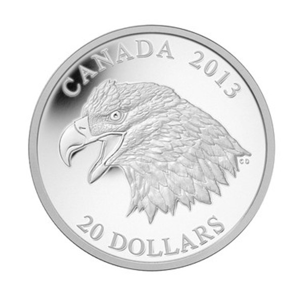 SALE - 2013 $20 FINE SILVER COIN - THE BALD EAGLE: PORTRAIT OF POWER