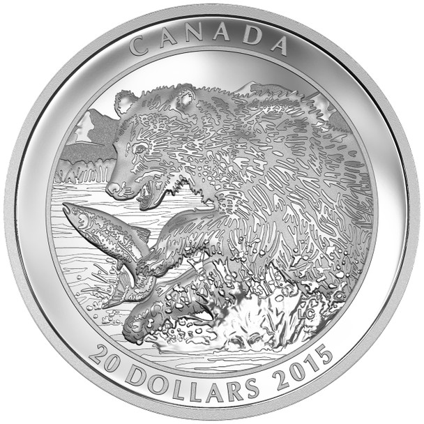 SALE - 2015 $20 FINE SILVER COIN GRIZZLY BEAR: THE CATCH