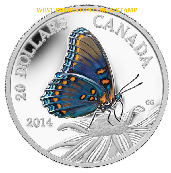 SALE - 2014 $20 FINE SILVER COIN BUTTERFLIES OF CANADA - RED-SPOTTED PURPLE