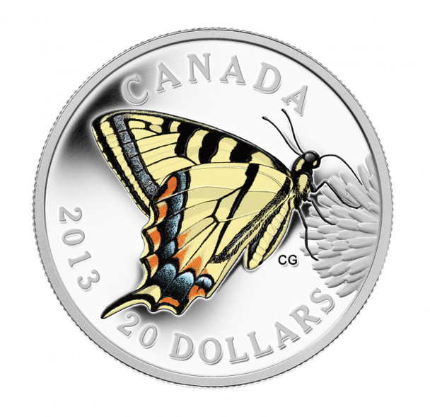 SALE - 2013 $20 FINE SILVER COIN - BUTTERFLIES OF CANADA: CANADIAN TIGER SWALLOWTAIL