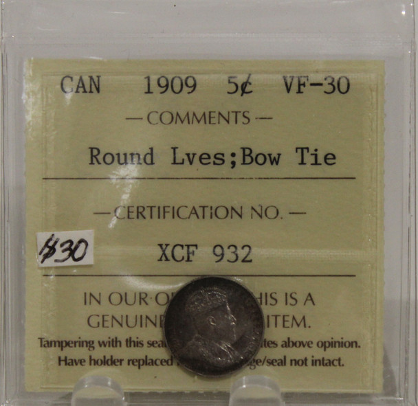 1909 CIRCULATION 5-CENT SILVER COIN - ROUND LEAVES - BOW TIE - VF-30