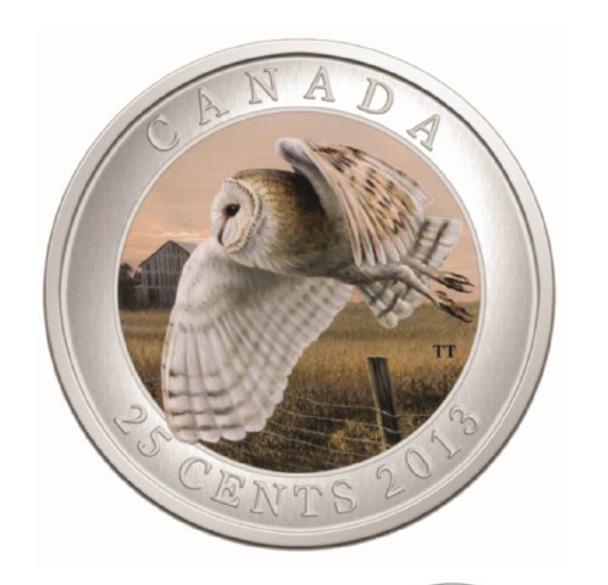 SALE - 2013 25-CENT COLOURED COIN - BARN OWL