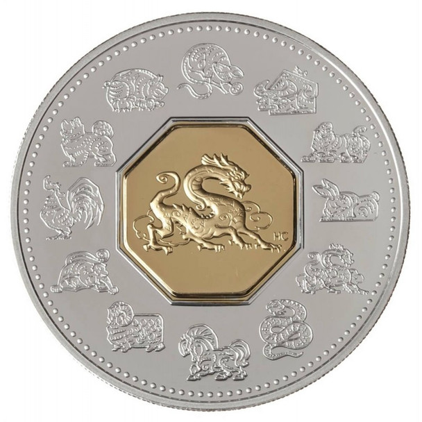 SALE - 2000 $15 LUNAR SILVER & GOLD COIN - YEAR OF THE DRAGON