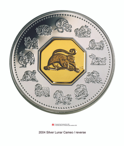 SALE - 2004 $15 LUNAR SILVER & GOLD COIN - YEAR OF THE MONKEY