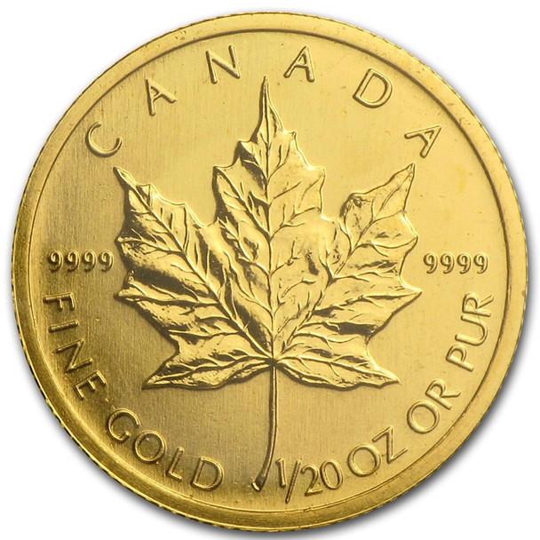 1/20 OZ. RANDOM YEAR CANADIAN MAPLE LEAF GOLD COIN (.9999 PURE BULLION)