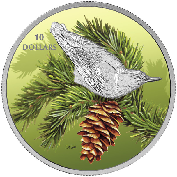 SALE -2017 $10 FINE SILVER COIN BIRDS AMONG NATURE'S COLOURS: NUTHATCH