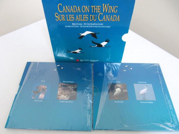 SALE - 1995 50-CENT 4-COIN CANADIAN BIRD SET - PUFFIN - CRANE- GRAY JAY - PTARMIGAN