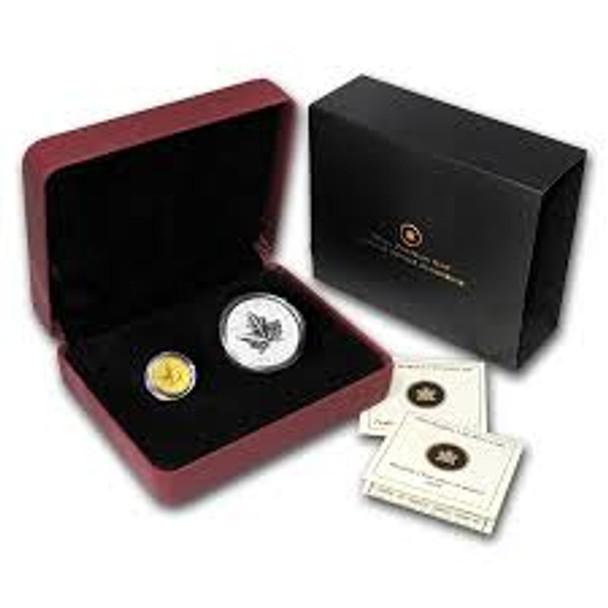 2010 PIEDFORT 1/5 OZ $10 GOLD MAPLE LEAF AND 1 OZ $5 SILVER MAPLE LEAF