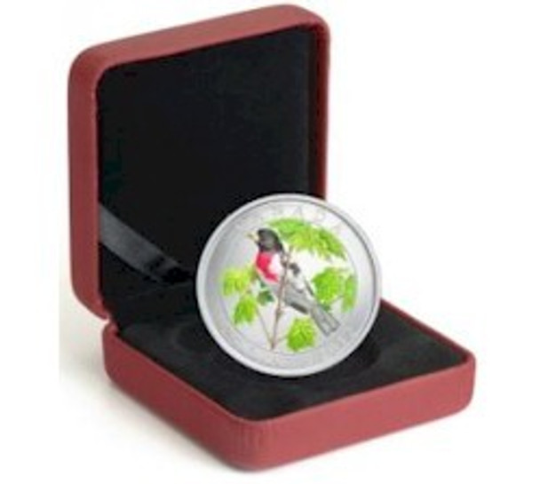 SALE -2012 25-CENT COLOURED COIN - ROSE-BREASTED GROSBEAK