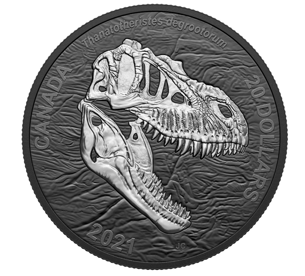 2021 $20 FINE SILVER COIN DISCOVERING DINOSAURS: REAPER OF DEATH