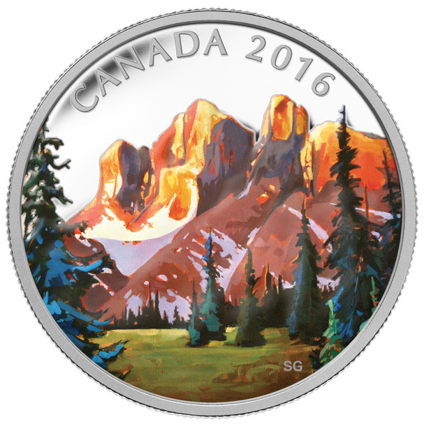 SALE -  2016 $20 FINE SILVER COIN CANADIAN LANDSCAPE SERIES - THE ROCKIES