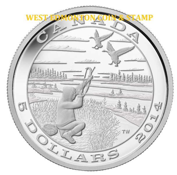 SALE - 2014 $5 FINE SILVER COIN TRADITION OF HUNTING: CANADA GOOSE