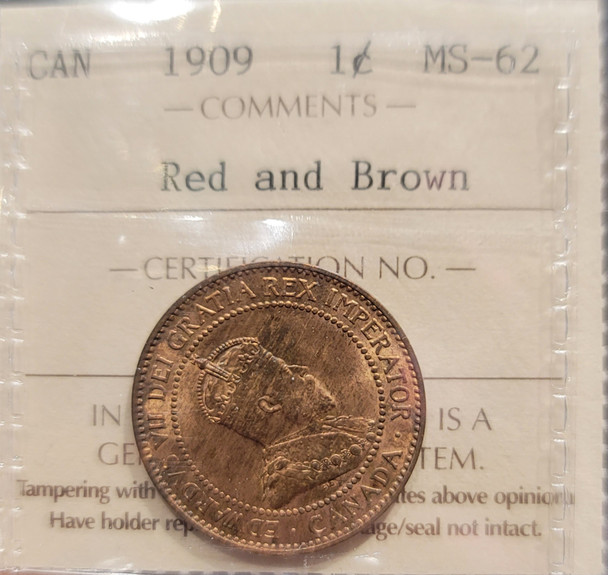 1909 CANADA CIRCULATION 1 CENT MS-62 - RED AND BROWN