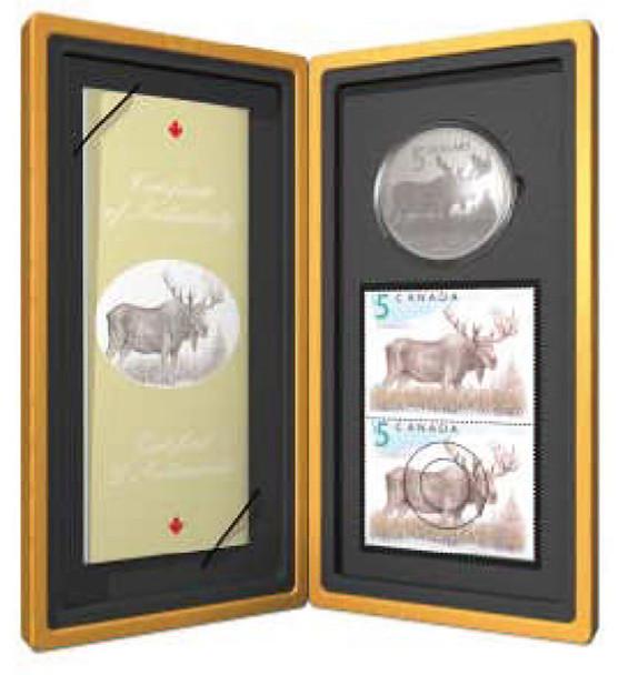 2004 $5 FINE SILVER COIN & STAMP SET - MAJESTIC MOOSE