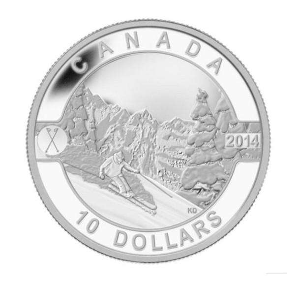 2014 $10 FINE SILVER COIN O CANADA - SKIING CANADA'S SLOPES